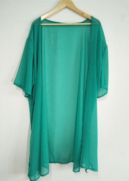 Free Shipping -- Solid Color Half Sleeve Maxi Cardigan Cover Ups