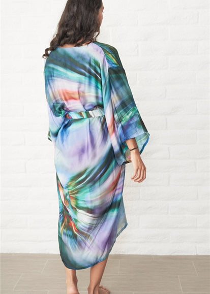 Free Shipping -- Dark Green Tie Dye Holiday Dress Long SLeeve Cardigan Cover Ups