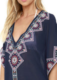 Free Shipping -- Navy Blue Chiffon Triangle Deep V-Neck Embroidered Cover Ups