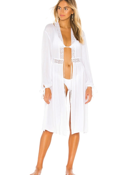 Free Shipping -- White Chiffon Wrinkled Lace Cardigan Cover Ups