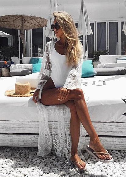 Free Shipping -- Sexy Long Sleeve Maxi White Lace Cover Ups