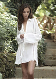Free Shipping -- Sexy White Folds Beach Long Sleeve Swimsuits Shirt Cover Ups
