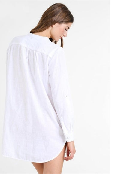 Free Shipping -- Solid Color Stand Collar Pocket Long Sleeve Beach Shirt Cover Ups