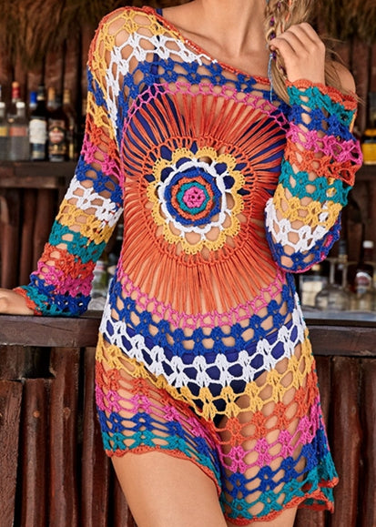 Free Shipping -- Long Sleeve Sun Flower Crochet Knitted Cover Ups