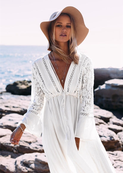 Free Shipping -- Solid Long Sleeve Lace Cover Ups V-Neck Maxi Beach Dresses