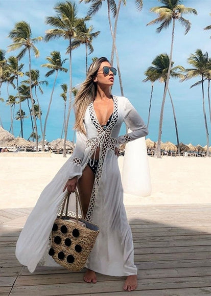 Free Shipping -- White Sexy Hollow Mesh Long Sleeve Swimsuits Cardigan Cover Ups