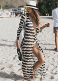 Free Shipping -- Wavy Striped Lace V-Neck Maxi Swimsuits Cardigan Cover Ups