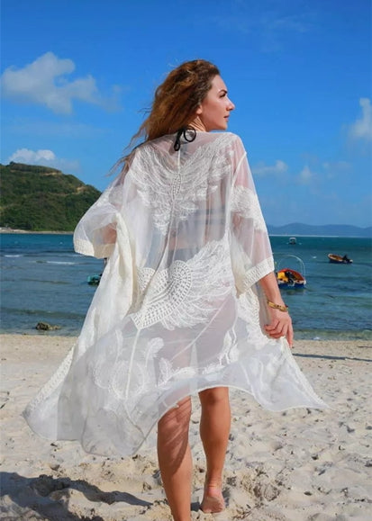 Free Shipping -- White 3/4 Sleeve Embroidered Cardigan Cover Ups