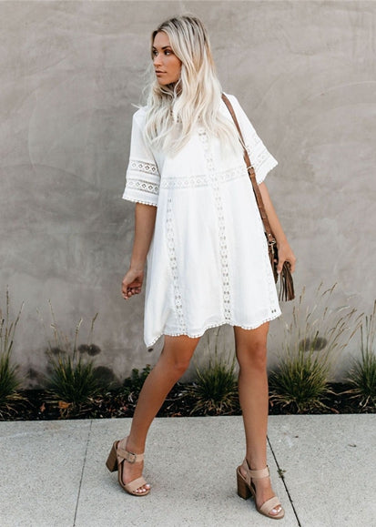 Free Shipping -- White Lace Short Sleeves Embroidered Shirt Cover Ups