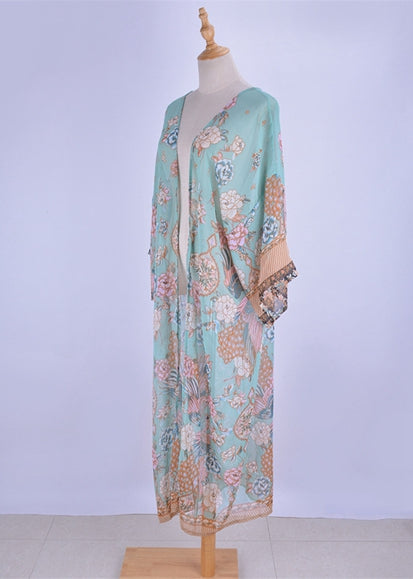 Free Shipping -- Green V-Neck Floral Print Maxi Cardigan Cover Ups