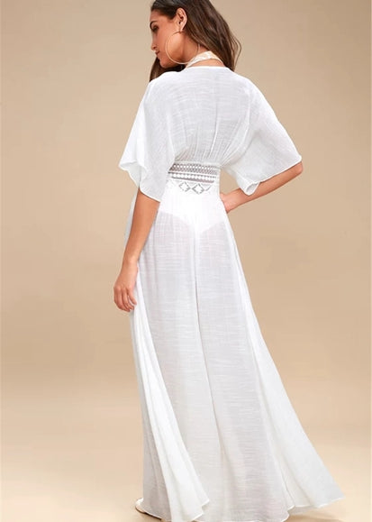 Free Shipping -- Solid Color Lace Half Sleeve Maxi Cardigan Cover Ups