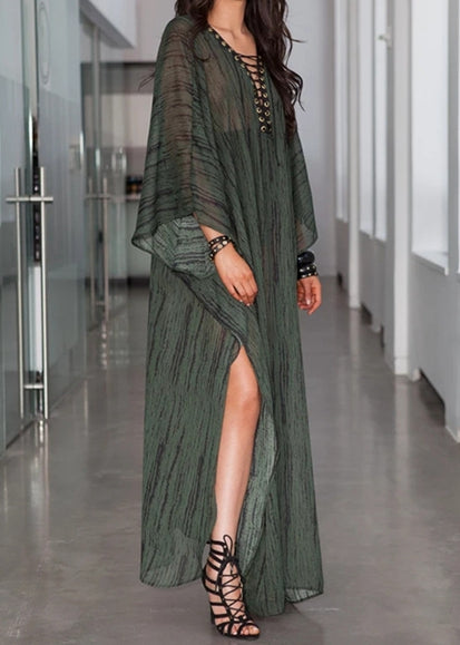 Free Shipping -- Army Green V-Neck Bandage Long Sleeve Maxi Beach Dresses