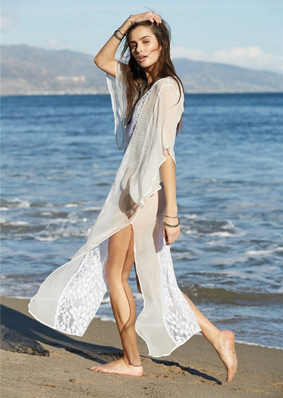 Free Shipping -- White Lace Embroidered V-Neck Short Sleeve Maxi Beach Dresses