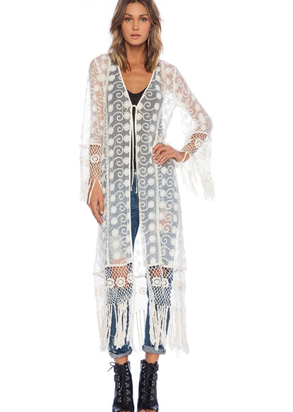 Free Shipping -- White Embroidered Lace Sleeves with Tassel Cardigan Cover Ups