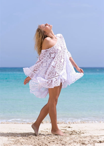 Free Shipping -- White Half Sleeve Swimsuits Lace Cover Ups