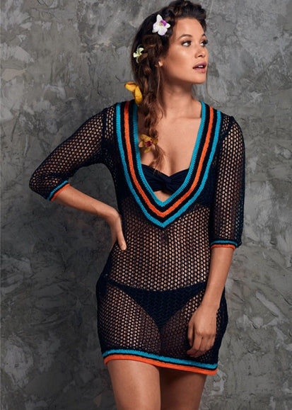 Free Shipping -- Sexy Cut Out Deep V-Neck Half Sleeve Crochet Knitted Cover Ups