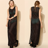 Free Shipping -- Black Knitted Cut Out Sleeveless V-Neck Crochet Knitted Cover Ups