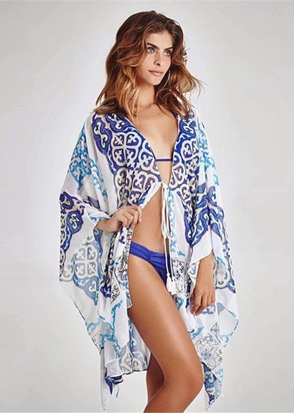 Free Shipping -- Boho Blue Print Chiffon Long Sleeve Cardigan Cover Ups