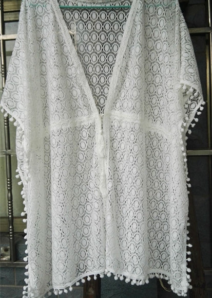 Free Shipping -- White Lace Ball Tassel V-Neck Swimsuits Cardigan Cover Ups