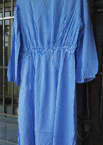 Free Shipping -- Blue Stipe Embroidered 3/4 Sleeve Shirt Cover Ups