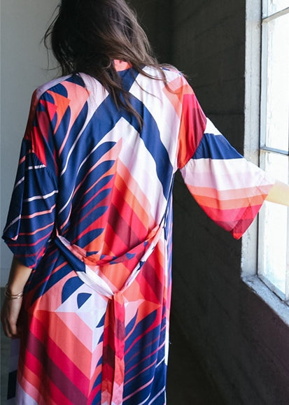 Free Shipping -- Geometric Print with Belt 3/4 Sleeve Maxi Cardigan Cover Ups