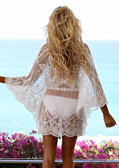 Free Shipping -- Sexy Mesh Embroidered V-Neck Lace Up Swimsuits Cover Ups