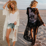 Free Shipping -- Mesh Embroidered Long Sleeve Loose Swimsuits Cardigan Cover Ups