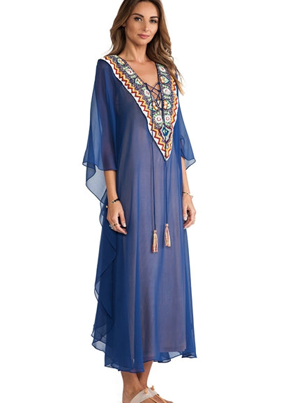 Free Shipping -- Blue Chiffon Embroidered Bandage Front Maxi Swimsuits Cover Ups