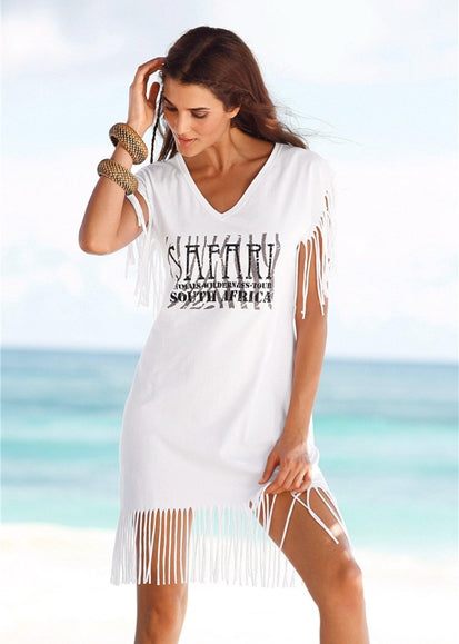 Free Shipping -- White Alphabet Print Tassel Short Sleeve Shirt Cover Ups