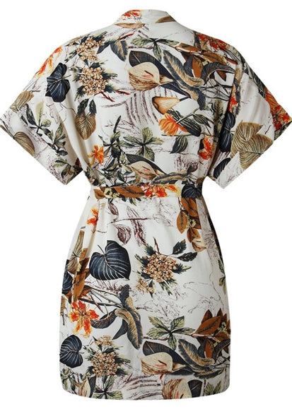 Free Shipping -- Leaf Print Loose Belted Short Sleeve Shirt Cover Ups