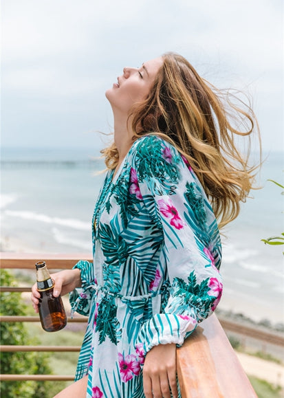 Free Shipping -- Tropical Floral Print Loose Belted Robe Long Sleeve Cardigan Cover Ups