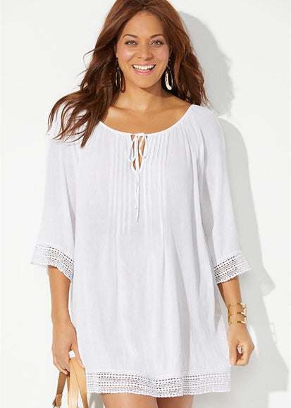 Free Shipping -- White Fold Pleated Front 3/4 Sleeve Short Cover Ups