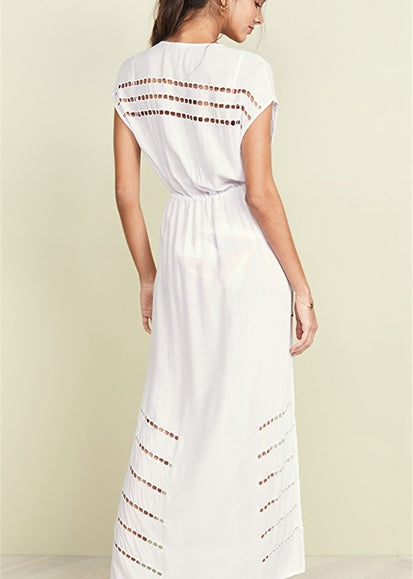 Free Shipping -- Sexy White Embroidered Belted Cut Out Maxi Cardigan Cover Ups