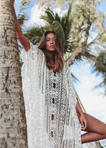 Free Shipping -- Full Lace Mesh Loose V-Neck Swimsuits Embroidered Cover Ups