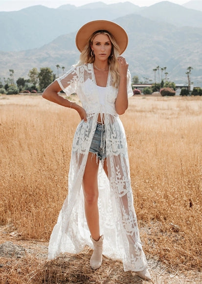 Free Shipping -- Full Lace Mesh Embroidered Maxi Swimsuits Cardigan Cover Ups