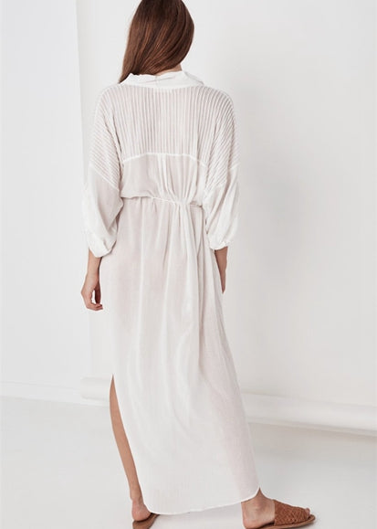 Free Shipping -- White Single Breasted V-Neck Long Sleeve Maxi Beach Dress