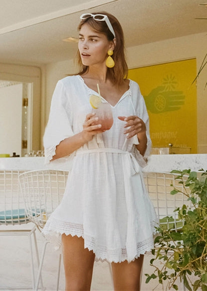 Free Shipping -- Sexy White Lace Up V-Neck Long Sleeve Tie Waist Short Cover Ups