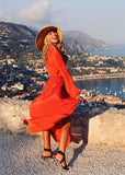 Free Shipping -- Swimsuits Cover Ups Button Hollow Out Lace Long Sleeve Beach Dress