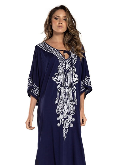 Free Shipping -- Floral Print V-neck Maxi Swimsuits Embroidered Cover Ups