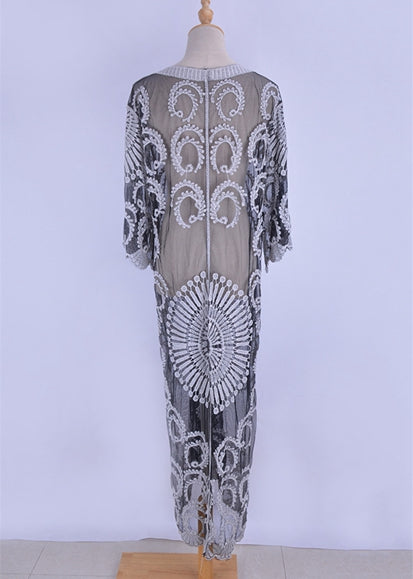 Free Shipping -- Sexy White Embroidered Lace Long Sleeve Cardigan Cover Ups