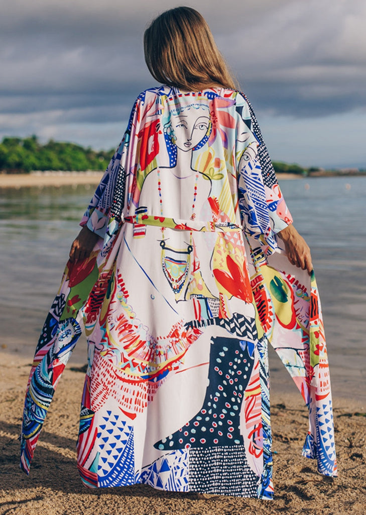 Free Shipping -- Colorful Print Long Sleeve Maxi Cardigan Cover Ups