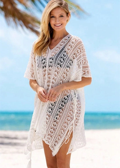 Free Shipping -- Black/White Sexy Cut Out Crochet Knitted V-Neck Half Sleeve Beach Dresses