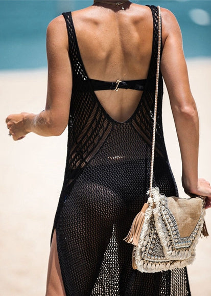 Free Shipping -- New Knit Sexy Skinny Cutout Crochet Knitted Beach Dress
