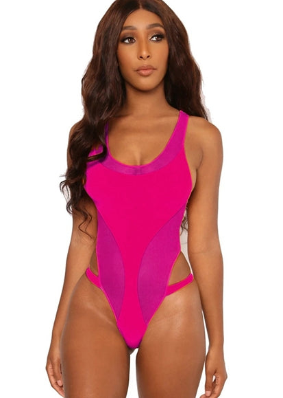 Free Shipping -- Fashion Solid Cross Back Hollow out Monokini Swimsuit