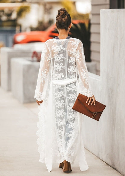 Free Shipping -- Swimsuits Lace Cover Ups V-Neck Long Sleeve Maxi Cardigan Cover Ups