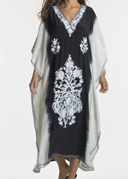 Free Shipping -- Black/White Print Long Sleeve V-Neck Maxi Vintage Cover Ups