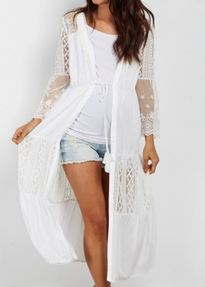 Free Shipping -- Cotton Stitch Lace Embroidery Long Sleeve Cardigan Cover Ups