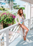 Free Shipping -- Sexy Lace Long Sleeve Maxi Swimsuits Cardigan Cover Ups