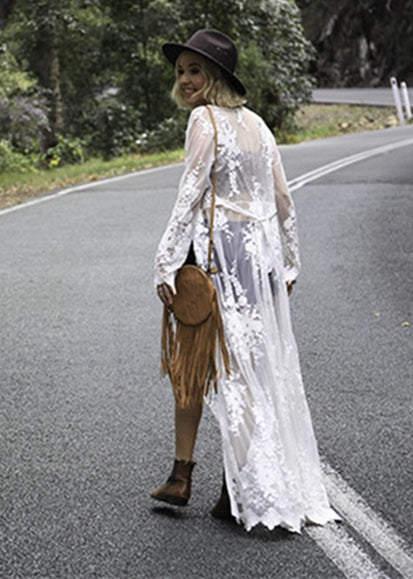 Free Shipping -- White Lace Long Sleeve Maxi Cardigan Cover Ups