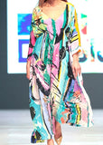 Free Shipping -- Color Block Floral Print V-Neck Maxi Vintage Cover Ups